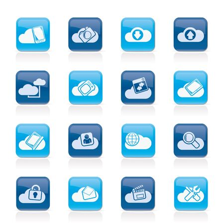 cloud services: cloud services and objects icons - vector icon set Illustration