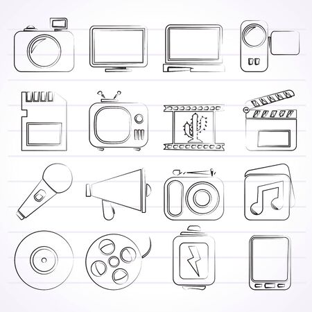 multimedia icons: Multimedia and technology Icons - vector icon set Illustration