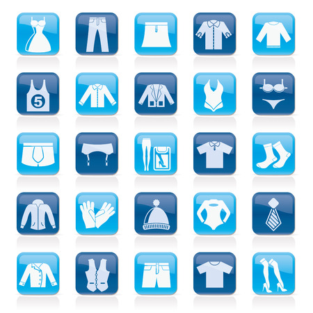 shorts t shirt sexy: Clothing and Fashion collection icons - vector icon set Illustration