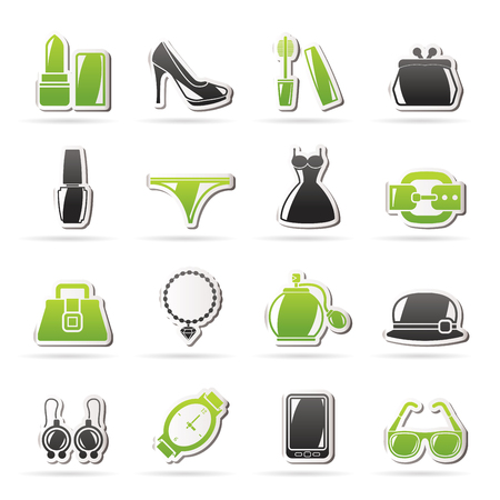 mobile accessories: Female Fashion objects and accessories icons- vector icon set, Created For Print, Mobile and Web  Applications Illustration