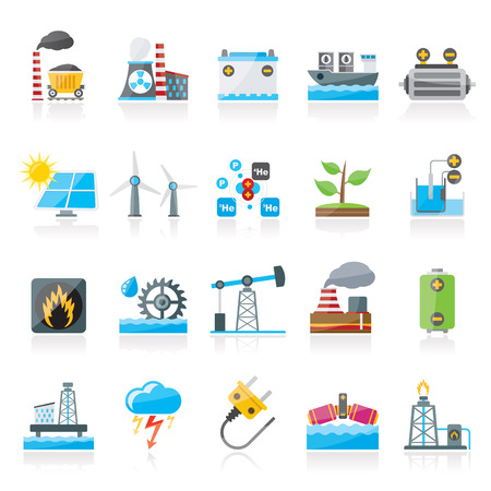 solar heating: Electricity and Energy source icons - vector icon set Illustration