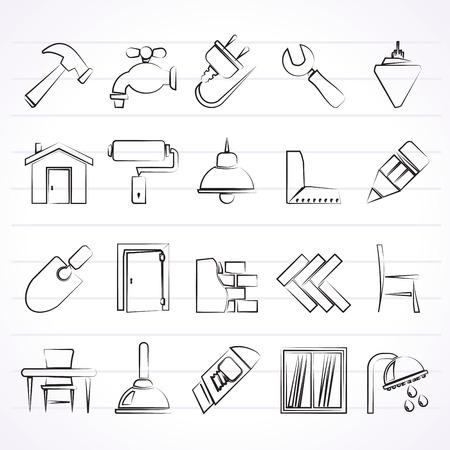 renovation de maison: Construction et de la r�novation ic�nes - vecteur icon set