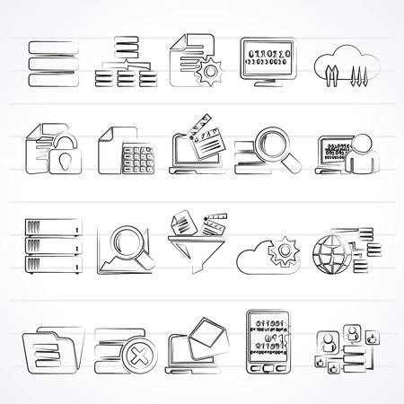 global settings: data and analytics icons - vector icon set Illustration
