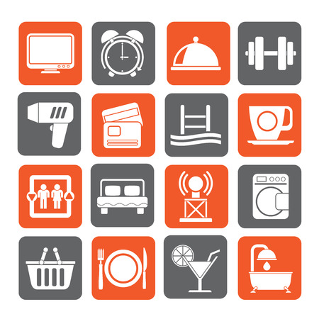 motel: Silhouette Hotel and Motel facilities icons - vector icon set