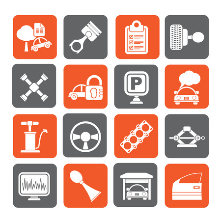 gasket: Silhouette Car parts and services icons - vector icon set 2