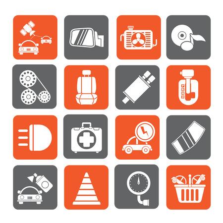 asiento coche: Piezas y servicios de la silueta de coches iconos - conjunto de iconos vectoriales 3