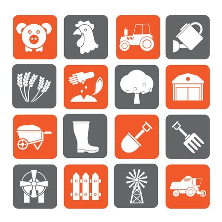 agrimotor: Silhouette Agriculture and farming icons - vector icon set Illustration