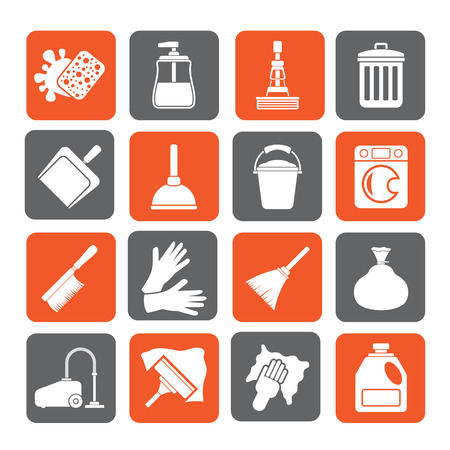 cleaning windows: Silhouette Cleaning and hygiene icons - vector icon set