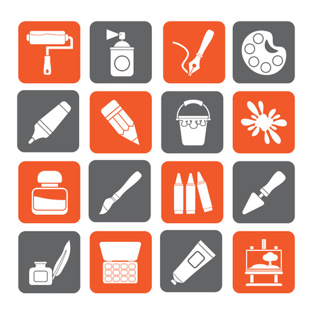 Silhouette Painting and art object icons - vector icon set Vector