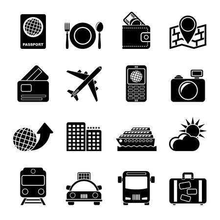 car bills: Silhouette travel, transportation and vacation icons Illustration