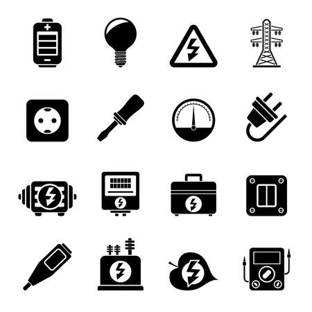 torres de alta tension: Silueta Electricidad, potencia y energía iconos Vectores