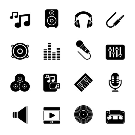 Silhouette Music, sound and audio icons Stok Fotoğraf - 38214860