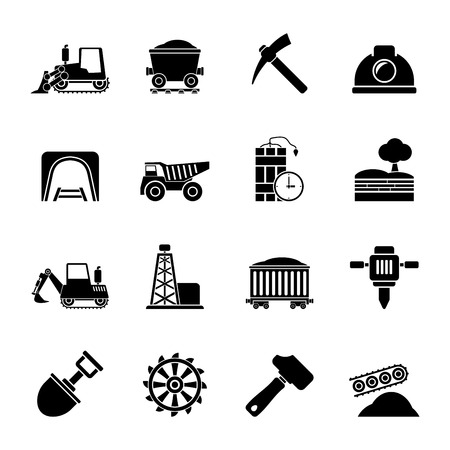 mining: Silhouette Mining and quarrying industry icons