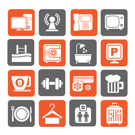 amenities: Silhouette Hotel Amenities Services Icons - vector icon set