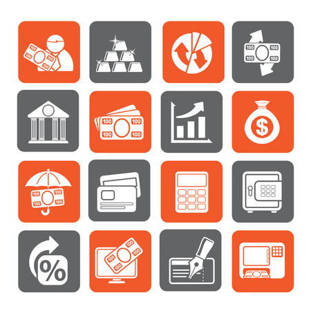 bankcard: Silhouette Bank, business and finance icons - vector icon set
