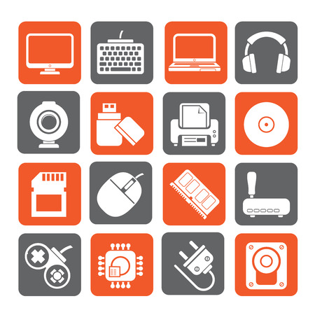 peripherals: Silhouette Computer peripherals and accessories icons - vector icon set