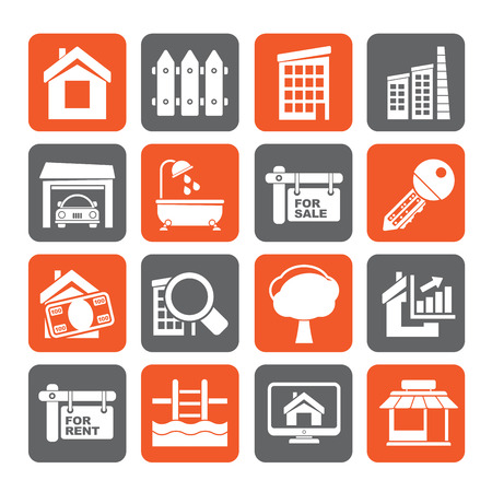 internet icons: Silhouette Real Estate Icons - Vector Icon Set