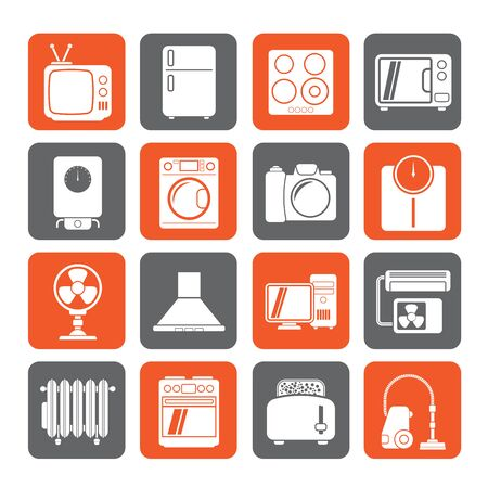 electronics icons: Silhouette home appliances and electronics icons - vector icon set