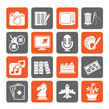 hobbies: Silhouette Hobbies and leisure Icons - vector icon set Illustration