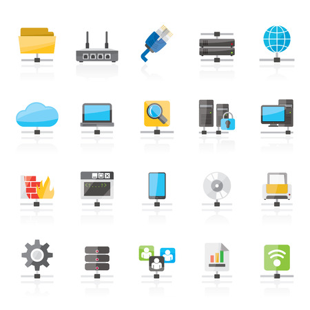 printer icon: Computer Network and internet icons - vector icon set