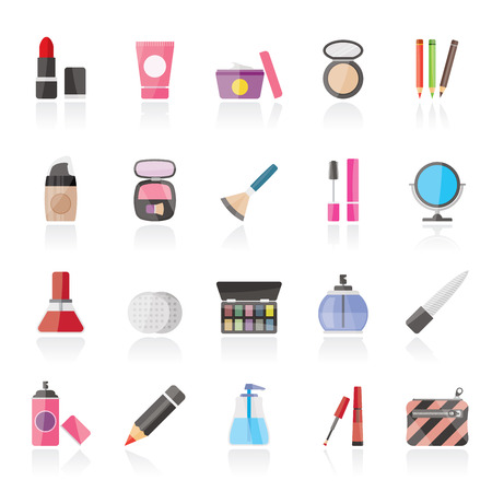 lip pencil: Make-up and cosmetics icons  - vector icon set