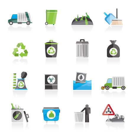 biological waste: Garbage, cleaning and rubbish icons - vector icon set Illustration