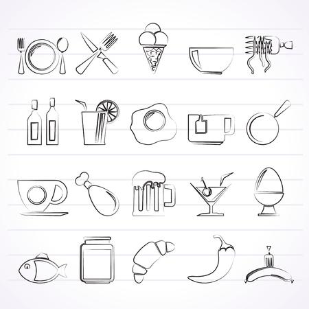 essen und trinken: Essen, Trinken und Restaurant-Symbole-Vektor-Icon-Set