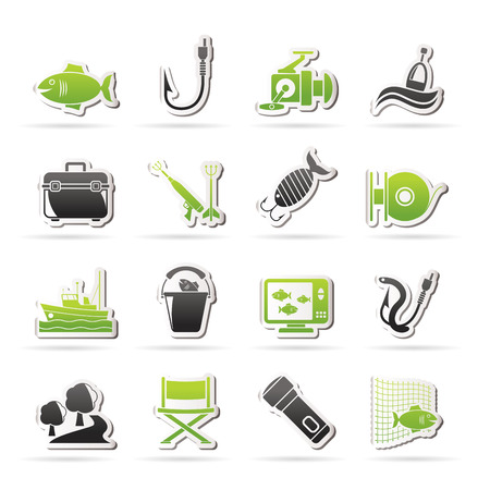 Fishing industry icons - vector icon set, Created For Print, Mobile and Web  Applications Vector