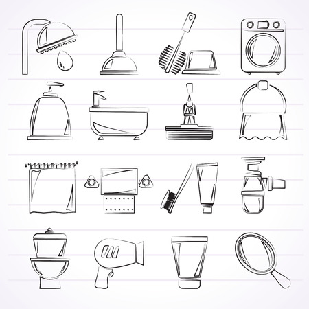shower curtain: Bathroom and hygiene objects icons -vector icon set, Created For Print, Mobile and Web  Applications