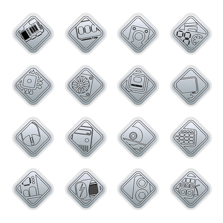 mainboard: Computer  performance and equipment icons - vector icon set