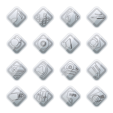 speaker box: Music and sound icons -  Vector Icon Set