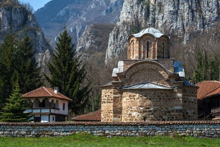 theologian: Panorama of medieval Poganovo Monastery of St. John the Theologian, Serbia