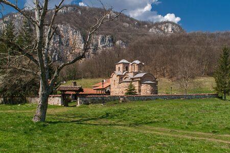 theologian: Panorama of medieval Poganovo Monastery of St. John the Theologian, Serbia