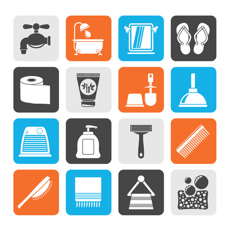 Silhouette Bathroom and Personal Care icons- vector icon set 1