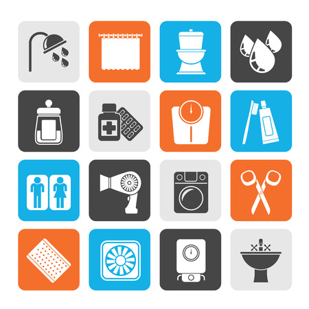 personal care: Silhouette Bathroom and Personal Care icons- vector icon set 2
