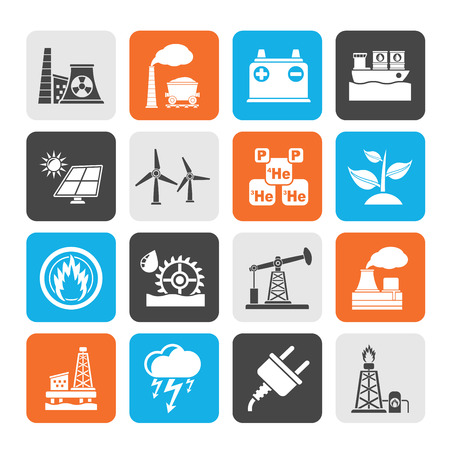 thermal power plant: Silueta de Electricidad y Energ�a iconos de origen - Vector Icon Set