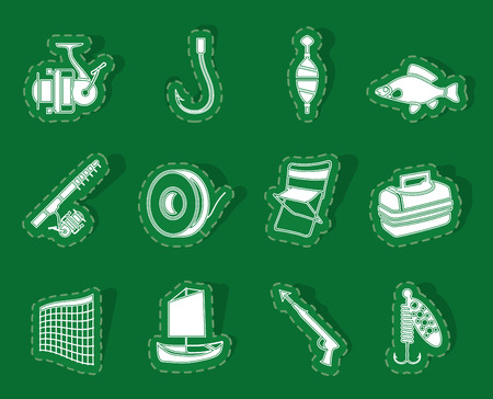 Fishing and holiday icons - vector icon set Illustration