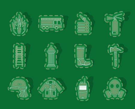 conflagration: fire-brigade and fireman equipment icon - vector icon set