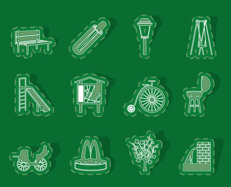 Park objects and signs icon - vector icon set Illustration