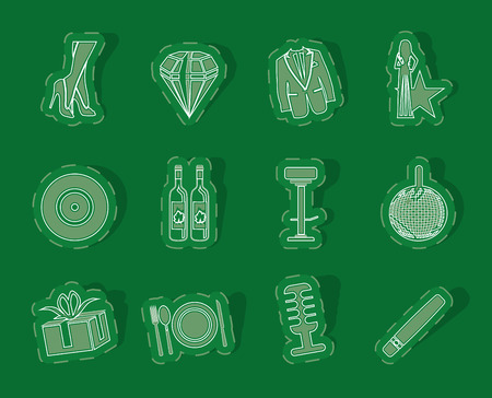 tailcoat: Luxury party and reception icons - vector icon set