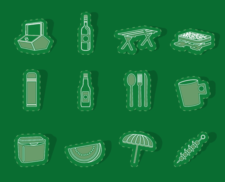 coldly: Picnic and holiday icons - vector icon set Illustration