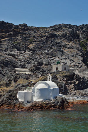 thira: Church to hot volcanic springs  Santorini Thira Island  Cyclades Islands Stock Photo