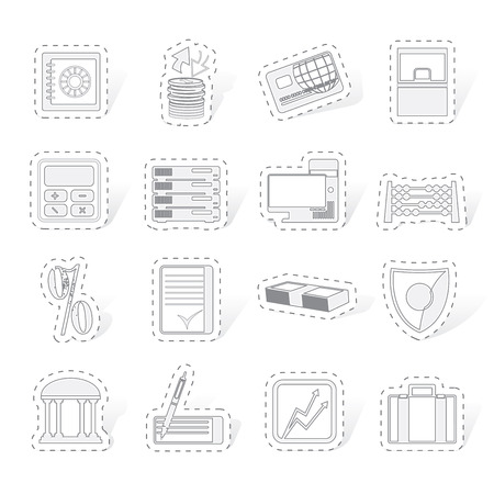 bank business finance and office icons vector icon set Vector