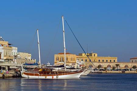 cyclades: Port of Ermoupoli Syros Island Cyclades Islands Stock Photo