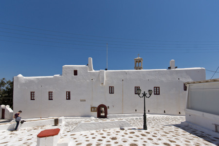 ano: Town of Ano Mera island of Mykonos Cyclades Islands Stock Photo
