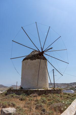 ano: Windmill  in Ano Mera town island of Mykonos Cyclades Islands