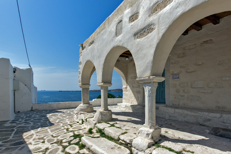 cyclades: White Church in Parikia Paros island Cyclades Stock Photo