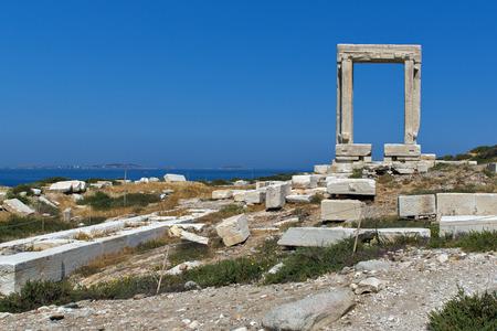 apollo: Apollo Temple entrance Naxos island Cyclades Stock Photo
