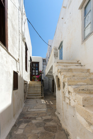 cyclades: Old town street in Naxos island Cyclades Editorial