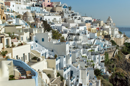 cyclades: Town of Fira Santorini Tira Island Cyclades Editorial